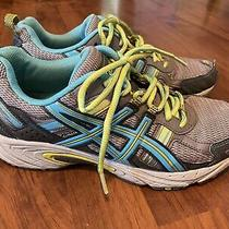 Womens Size 8.5 Asics Athletic Shoes Gray Turquoise Lime Gel Venture 5 Photo
