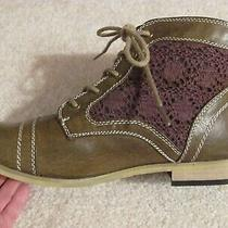 Womens Size 8.5 Xoxo Brave Brown Lace Up Ankle Boots Shoes Casual Combat Euc Photo