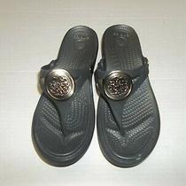 Womens Size 8 Crocs Sanrah Circle Wedge Black Flip Flop Thong Sandals Photo