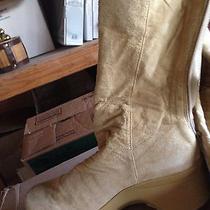 Womens Size 9 Platform Heel Boot Light Tan Suede Leather Likenew Super Comfy Photo