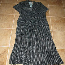 Womens Size Large Dress Black & Aqua Blue Polka Dot Dress  Photo