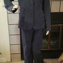 Womens Size M 6 Black Express Pantsuit 2 Pc Blazer Pants Career Stretch Cotton Photo