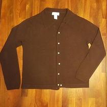 Womens Size M Express Tricot Button Up Long Sleeve Brown Sweater 100% Acrylic  Photo