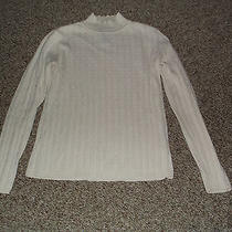 Womens Size Medium Classic Elements Off White Sweater Mock Neck Cotton & Acrylic Photo