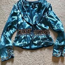 Womens Size Small Arden B Aqua Blue Velvet Blazer Photo