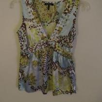 Womens Size Small Daisy Fuentes Yellow Aqua Brown Floral Bead Embellished Top Photo