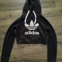Womens Size Xs Adidas Cropped Hoodie Sweatshirt Jacket Black Photo