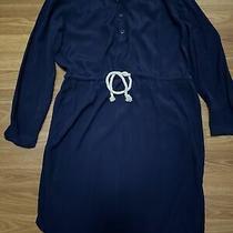 Womens Size Xs J. Crew Navy Blue Knee Length Long Sleeve Shirtwaist Dress Photo
