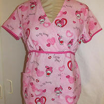 Womens Size Xs My Melody by Sanrio Hello Kitty Valentines Day Scrubs Shirt Heart Photo