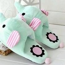Womens Slippers Plush Slipper Roxy Mint Elephant Photo