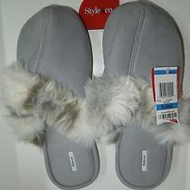 Womens Slippers Seal Gray Faux Suede Fur Lined Mule Slippers Xl 11 12 Photo