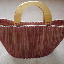 Womens Small Handbag Fabricwood Handlesbrown/blush/burgundyfrom Philippines Photo