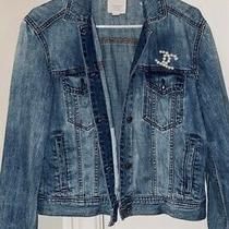 Womens Small Jean Jacket With Real Pearl Chanel Embroidering Photo