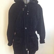 Womens Soft Leather Express Coat With Insulated Quilted Interior - Size Medium Photo