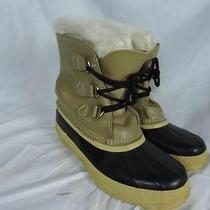 Womens Sorel Manitou Mid Calf Lined Tan Black Leather Rubber Winter Snow Boots 6 Photo