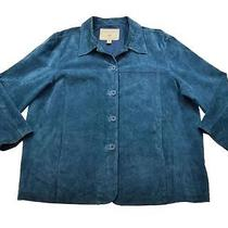 Womens St John's Bay Blue Suede Leather Long Shirt Jac Coat Jacket Sz 3x Photo