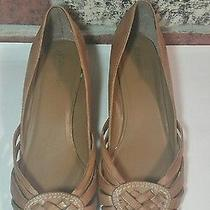 Womens St John's Bay Multi Brown Leather Weaved Strappy Wedge Sandals Shoes 11 Photo