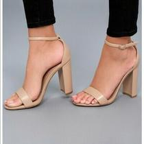 Womens Steve Madden Size 9 Carrson Nude Blush Open Toe Leather Block Heel Sandal Photo