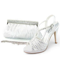 Womens Strappy T High Heel Sandal White Rhinestone Wedding Party Shoes With Bag Photo