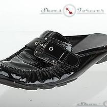 Womens Stuart Weitzman Stylish Black Leather Mules Shoes Sz. 8 M Great Photo