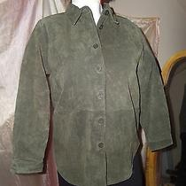 Womens Suede Leather Shirt Olive Green Bagatelle Size L Photo