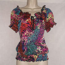 Womens Summer Casual Shirt Blouse by Bongo Large L Black Aqua Orange Purple Red Photo