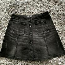 Womens Superdry Black Denim Mini Skirt Size Xs in Excellent Condition Photo