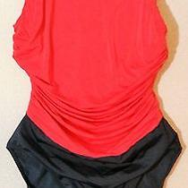 Womens Swim Suit One Piece Sz. 14t Red & Black Sun Streak by Newport News Photo