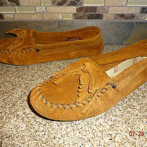 Womens Sz 11 Minnetonka Moccasins Brown Suede Slippers Shoes Photo