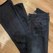 Womens Sz 26 Hudson Flare Dark Wash Denim Blue Jeans W/ Pocket Flaps Photo
