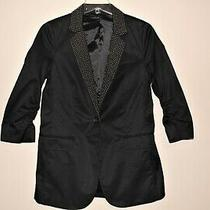 Womens Sz 6 Express Black Silver Studded 3/4 Sleeve Single Button Jacket Blazer Photo