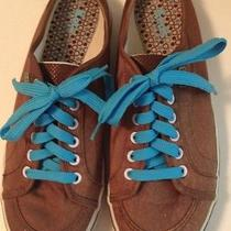 Womens Sz 7.5 Keds Slip on Slides Lace Up Grunge Brown W/ Turquoise Blue Photo