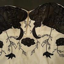Womens Sz 8 White Black Strapless Top Charlotte Russe Corset Style Stretch  Photo