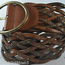 Womens Sz S Fossil 100% Leather Braided Two Toned Medium Brown Belt 3