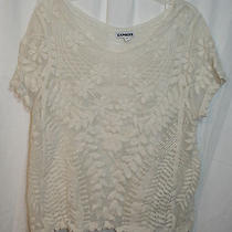 Womens Sz S Ivory Sheer Floral Express Top Spring Summer Vgc  Photo