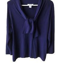 Womens Talbots Sweater Navy Blue M Vneck Tie at Neck Photo