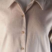 Womens Tan Shirt Top Xl 18 Faux Punched Suede Classic Elements  Photo