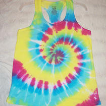 Womens Tank Top Danskin Lg Tie Dye Racerback Aqua Green Pink Yoga Run Long L Photo