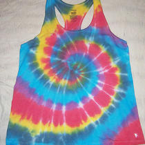 Womens Tank Top Danskin Tie Dye Racerback Blue Aqua Red Sun Yoga Run Long Xl Photo