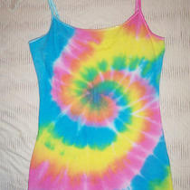 Womens Tie Dye Cami Tank Top Stretch Shaper Neon Yellow Green Aqua Pink M Hippie Photo