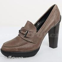 Womens Tods Gray / Taupe Leather Platform Heels Sz. 40 New Photo