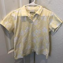 Womens Tommy Bahama Yellow Floral Short Sleeve Polo Shirt Blouse Top Size M Photo
