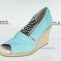Womens Toms Turquoise Open Toe Wedges Sz. 6 Great Photo