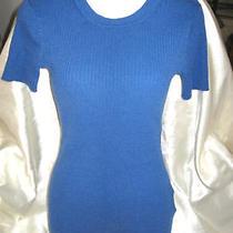 Womens Top Medium  Vera Wang Blue Ribbed Top  Great Shape Simply Photo