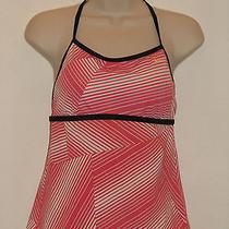 Womens Top Nike Pink White Stripe Black Racer Back Athletic Tank Size 8 Photo