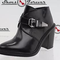 -Womens Topshop Black Leather Ankle Boots / Heels Sz. 37 New Photo