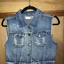 Womens Topshop Blue Cropped Distressed Denim Gilet Size 10 Photo
