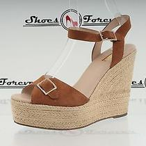 Womens Topshop Brown Fabric Ankle Strap Wedges Sz. 40 Great Photo