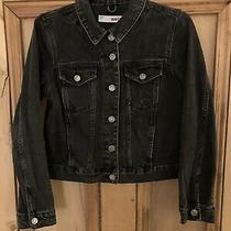 Womens Topshop Washed Black Cropped Denim Jacket Size 10 Photo