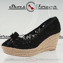 Womens Tory Burch Black Fabric Open Toe Crochet Wedges Sz. 10.5 B New Photo